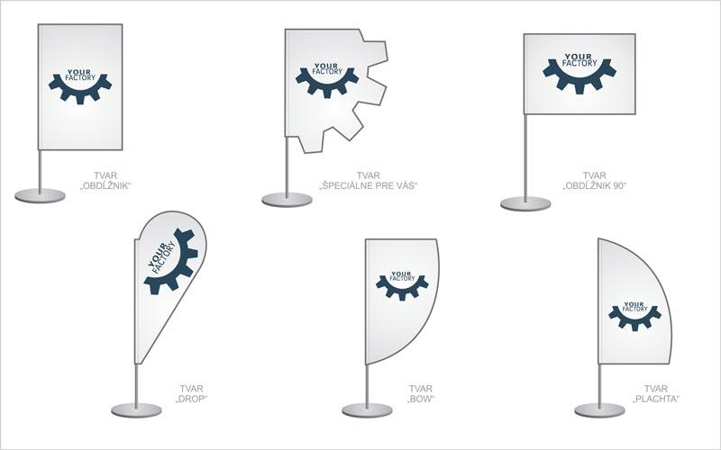 Rôzne tvary stolových banerov.