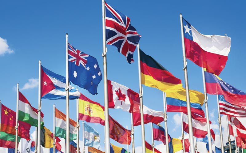Vlajky a zástavy štátov sveta, EÚ, NATO.