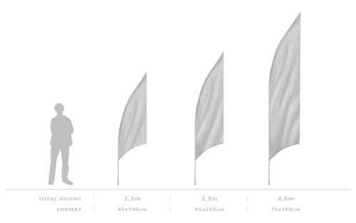 Výšky systému beachflag SHARK