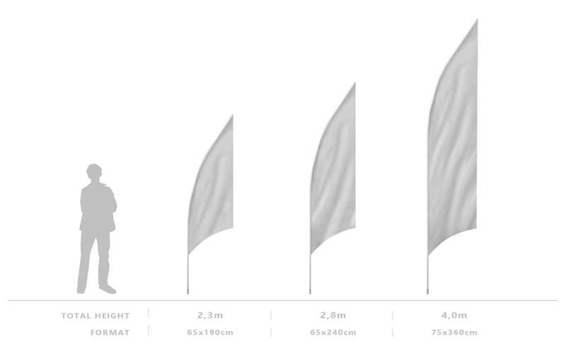 Výška systému beachflag GRAND
